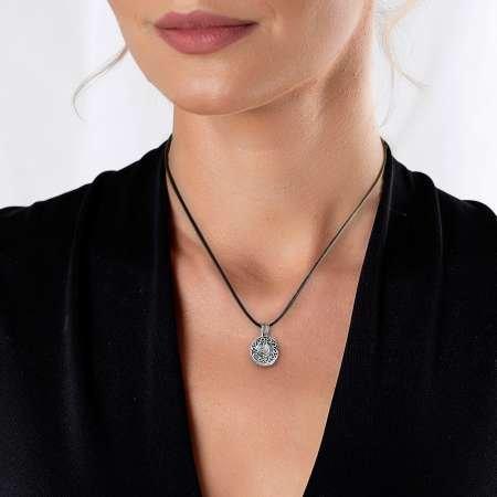 Kişiye Özel İsim Yazılı Üzeri Tuğra Temalı 925 Ayar Gümüş Cevşen Kolye - Thumbnail