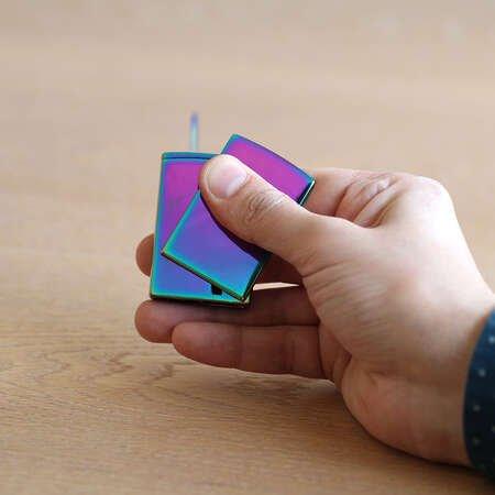 Kişiye Özel İsim Yazılı Yandan Mekanizmalı Izgaralı Deep Blue Renk Hediye Kutulu Manyotorlu Metal Çakmak - Thumbnail