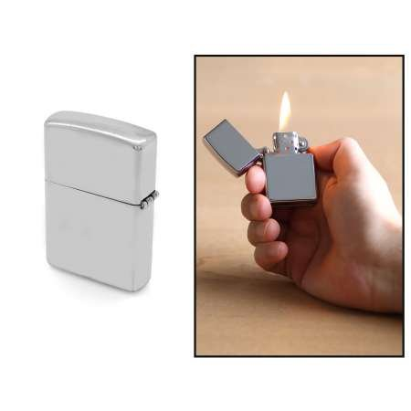 Kişiye Özel İsim Yazılı Zippo Tasarım Gümüş Renk Taşlı Metal Çakmak - Thumbnail