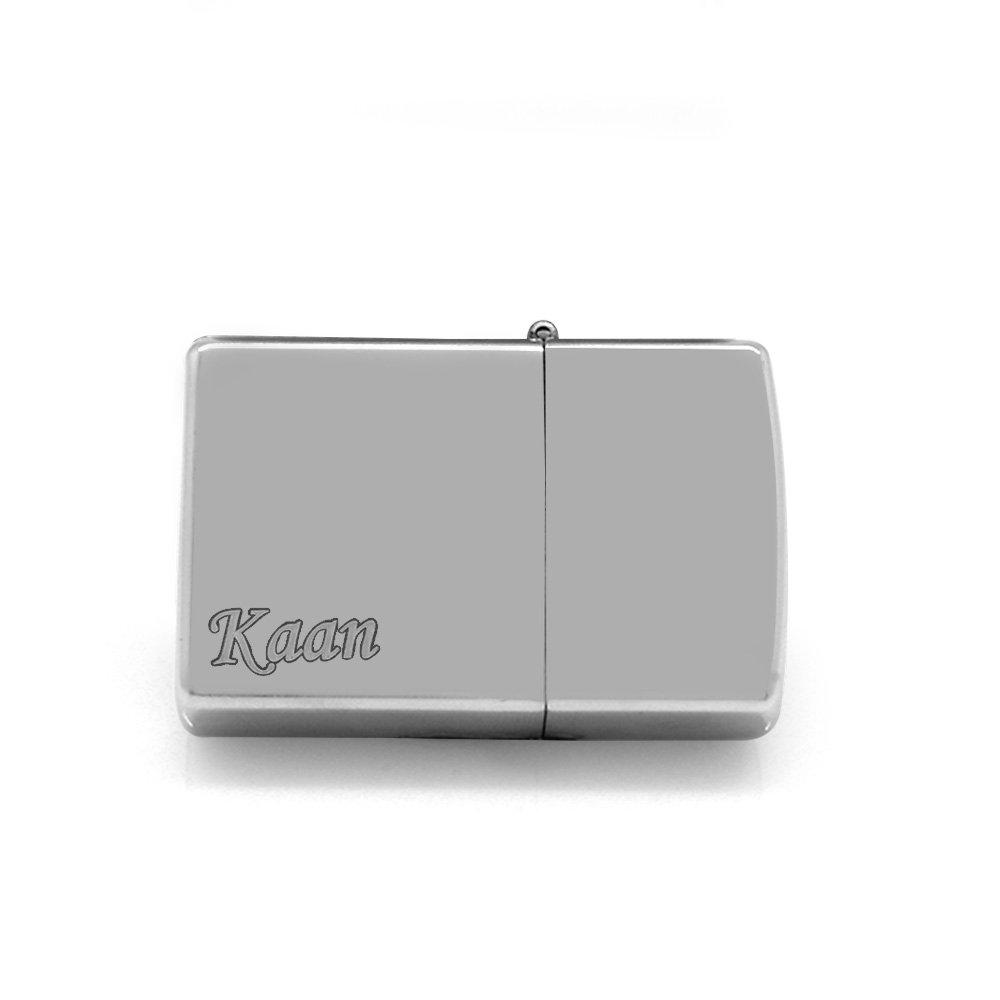 Kişiye Özel İsim Yazılı Zippo Tasarım Gümüş Renk Taşlı Metal Çakmak