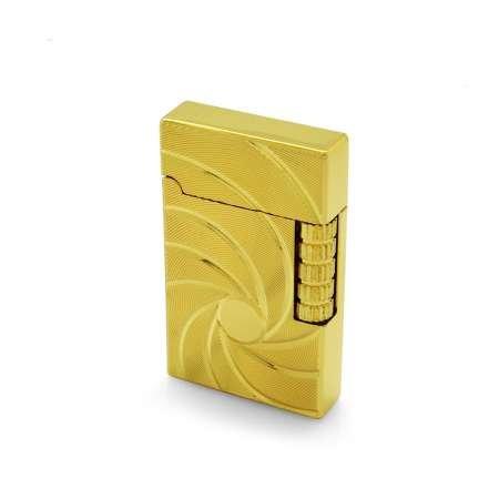 Kişiye Özel İsim Yazılı Zippo Tasarım Helezon Desenli Gold Renk Taşlı Çakmak - Thumbnail