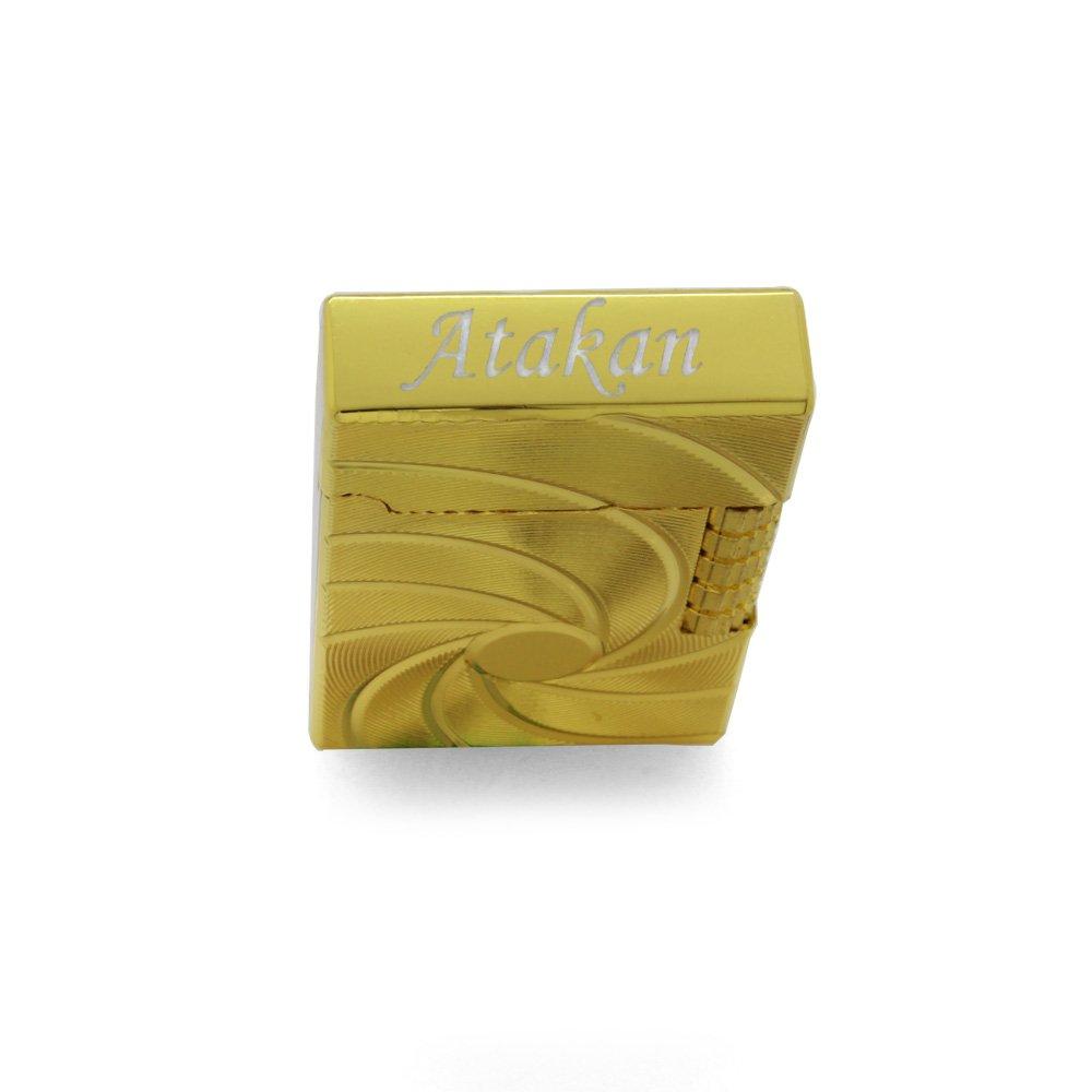 Kişiye Özel İsim Yazılı Zippo Tasarım Helezon Desenli Gold Renk Taşlı Çakmak