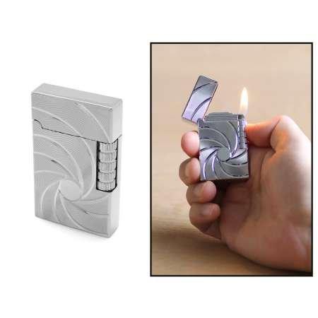 Kişiye Özel İsim Yazılı Zippo Tasarım Helezon Desenli Gümüş Renk Taşlı Çakmak - Thumbnail