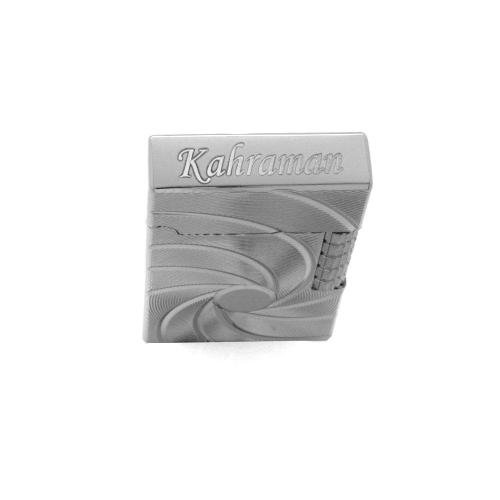 Kişiye Özel İsim Yazılı Zippo Tasarım Helezon Desenli Gümüş Renk Taşlı Çakmak