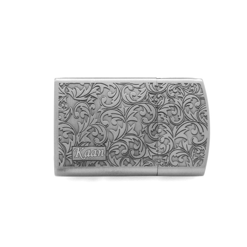Kişiye Özel İsim Yazılı Zippo Tasarım Sarmaşık İşlemeli Gümüş Renk Taşlı Çakmak