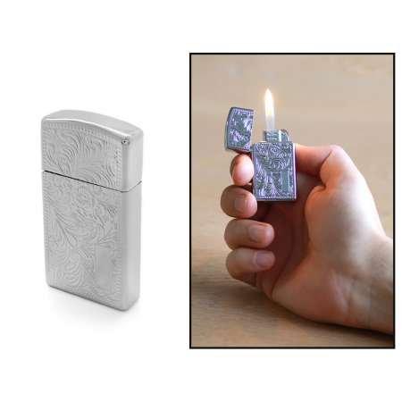 Kişiye Özel İsim Yazılı Zippo Tasarım Zenit Mekanizmalı Üzeri İşlemeli Gümüş Renk Taşlı Metal Çakmak - Thumbnail
