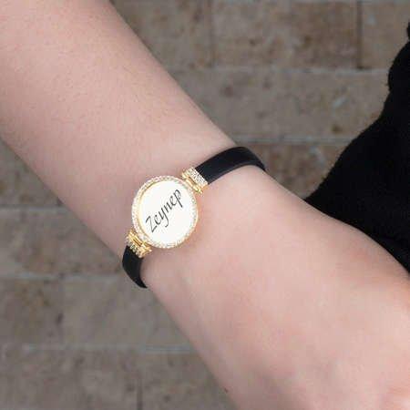 Kişiye Özel İsim Yazılı Zirkon Taşlı Gold Renk 925 Ayar Gümüş Bayan Bileklik - Thumbnail