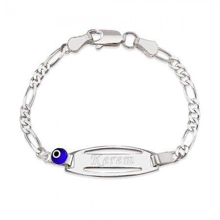 925 Ayar Gümüş Figaro Zincirli Nazar Boncuğu Tasarım İsim Yazılı Çocuk Bileklik - Thumbnail