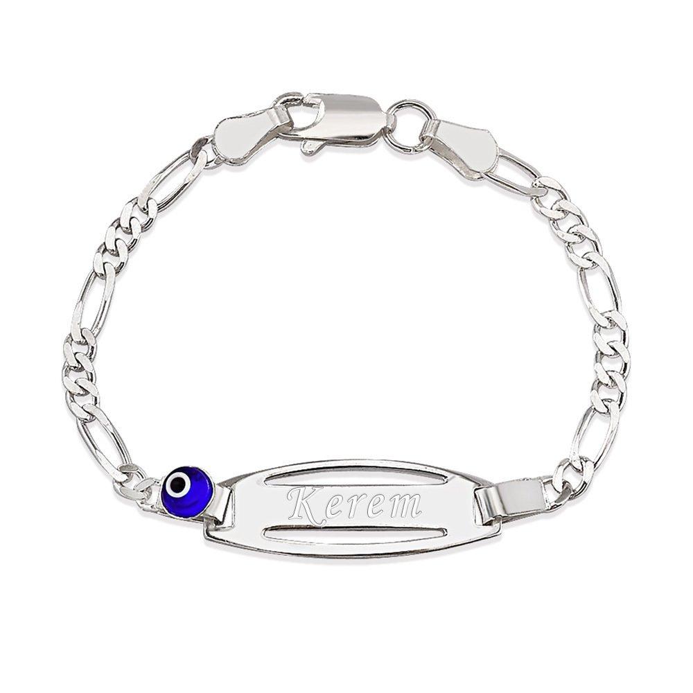 925 Ayar Gümüş Figaro Zincirli Nazar Boncuğu Tasarım İsim Yazılı Çocuk Bileklik