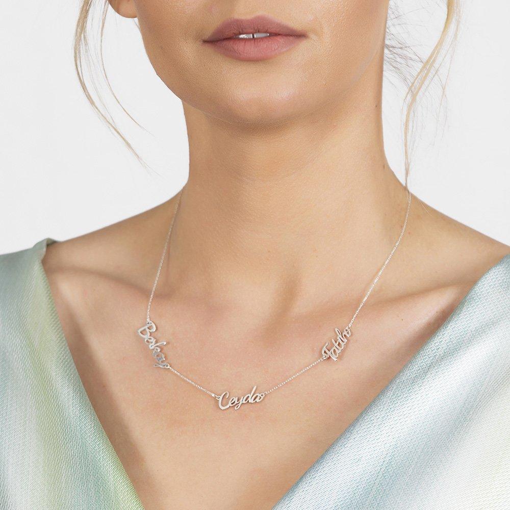 Kişiye Özel Üç İsim Yazılı 925 Ayar Gümüş Bayan Kolye