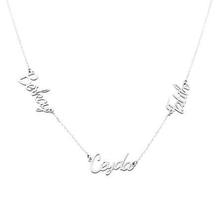 Kişiye Özel Üç İsim Yazılı 925 Ayar Gümüş Bayan Kolye - Thumbnail