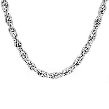 Kıvrımlı Örgü Kalın Model 60 cm 317L Çelik Erkek Zincir Kolye - Thumbnail