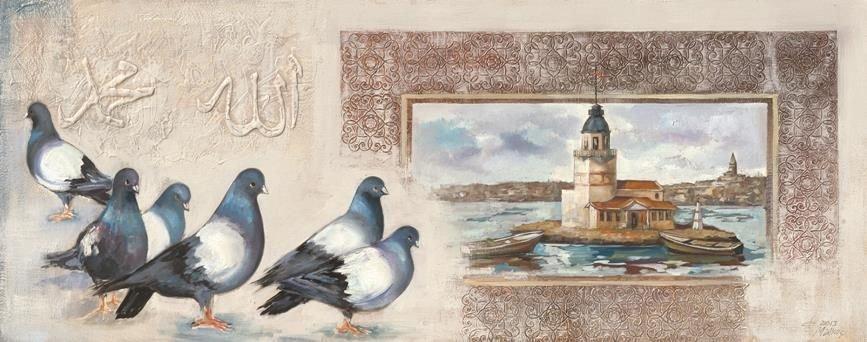 Kız Kulesi-Kumru Temalı Kanvas Tablo