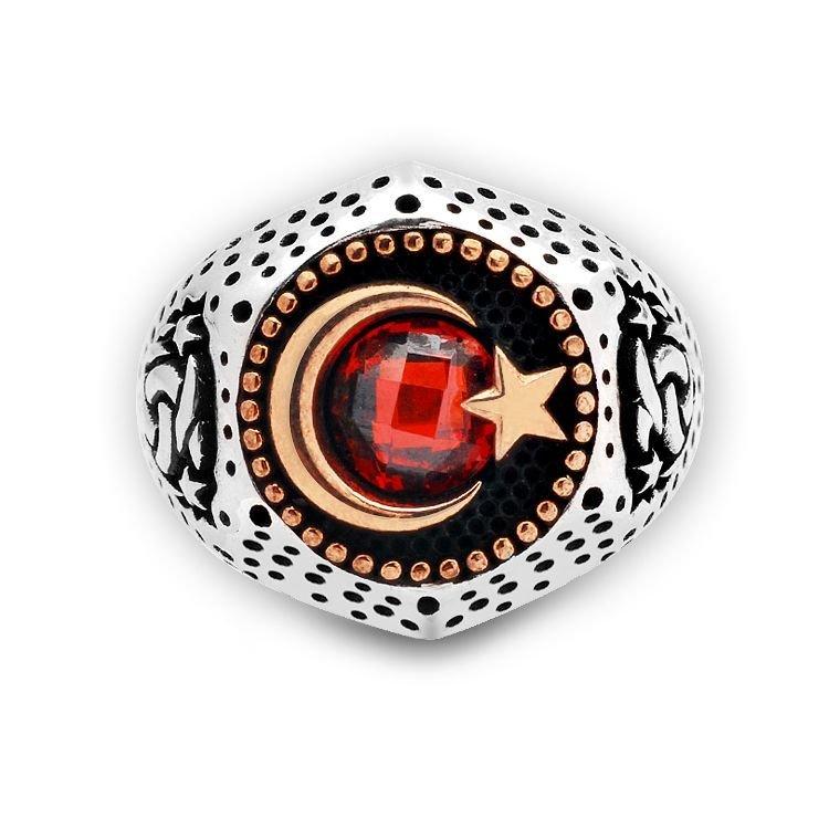 Ayyıldız Motifli Zirkon Taşlı 925 Ayar Gümüş Teşkilat-ı Mahsusa Yüzüğü