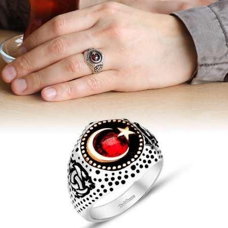 Ayyıldız Motifli Zirkon Taşlı 925 Ayar Gümüş Teşkilat-ı Mahsusa Yüzüğü - Thumbnail