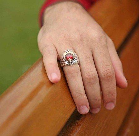 Kızıl Pençe - 925 Ayar Gümüş Ay Yıldız Pençeli Özel Tasarım Yüzük - Thumbnail