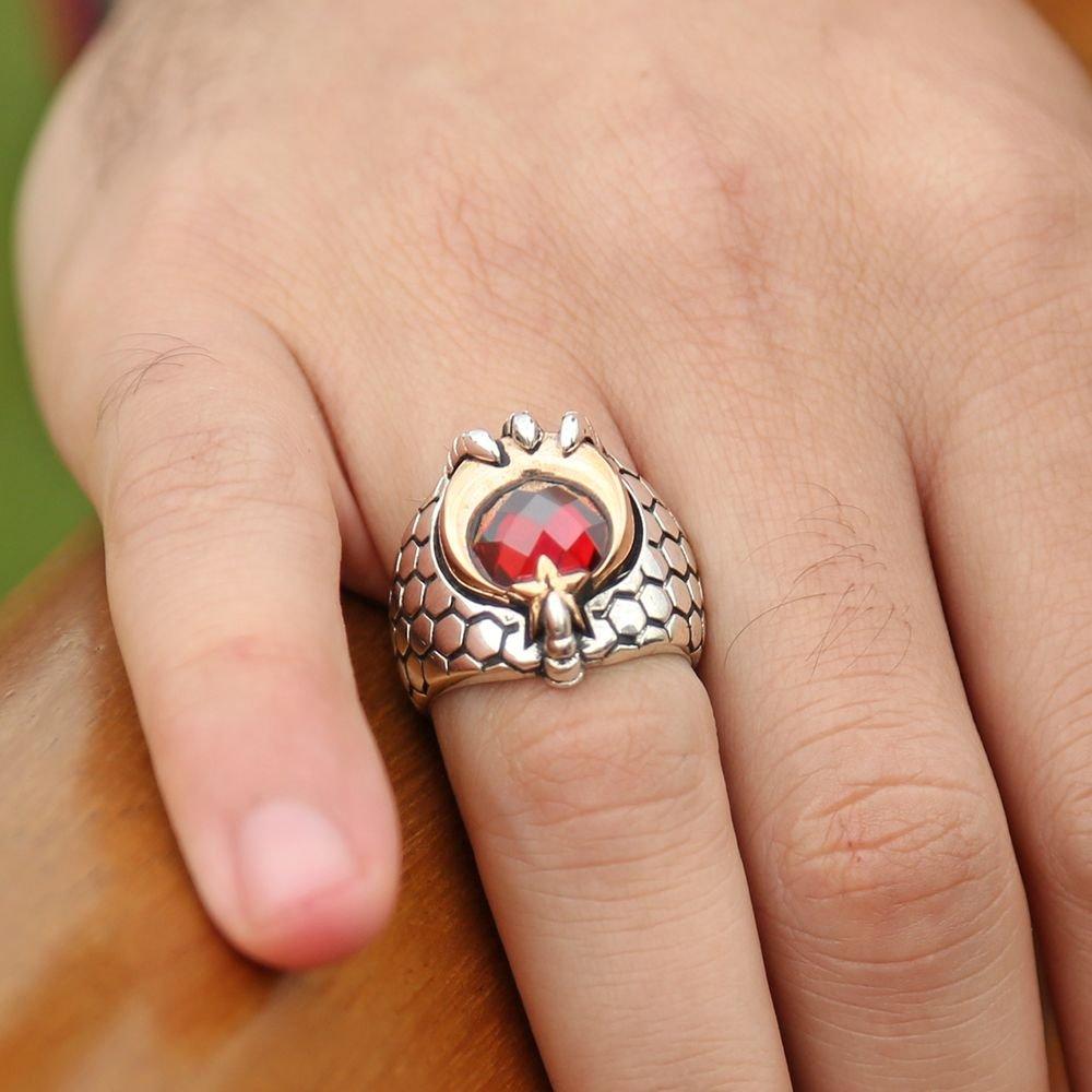Kızıl Pençe - 925 Ayar Gümüş Ay Yıldız Pençeli Özel Tasarım Yüzük