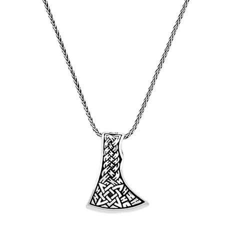 Kızılderili Baltası Tasarım Kalın Zincirli 925 Ayar Gümüş Erkek Kolye - Thumbnail