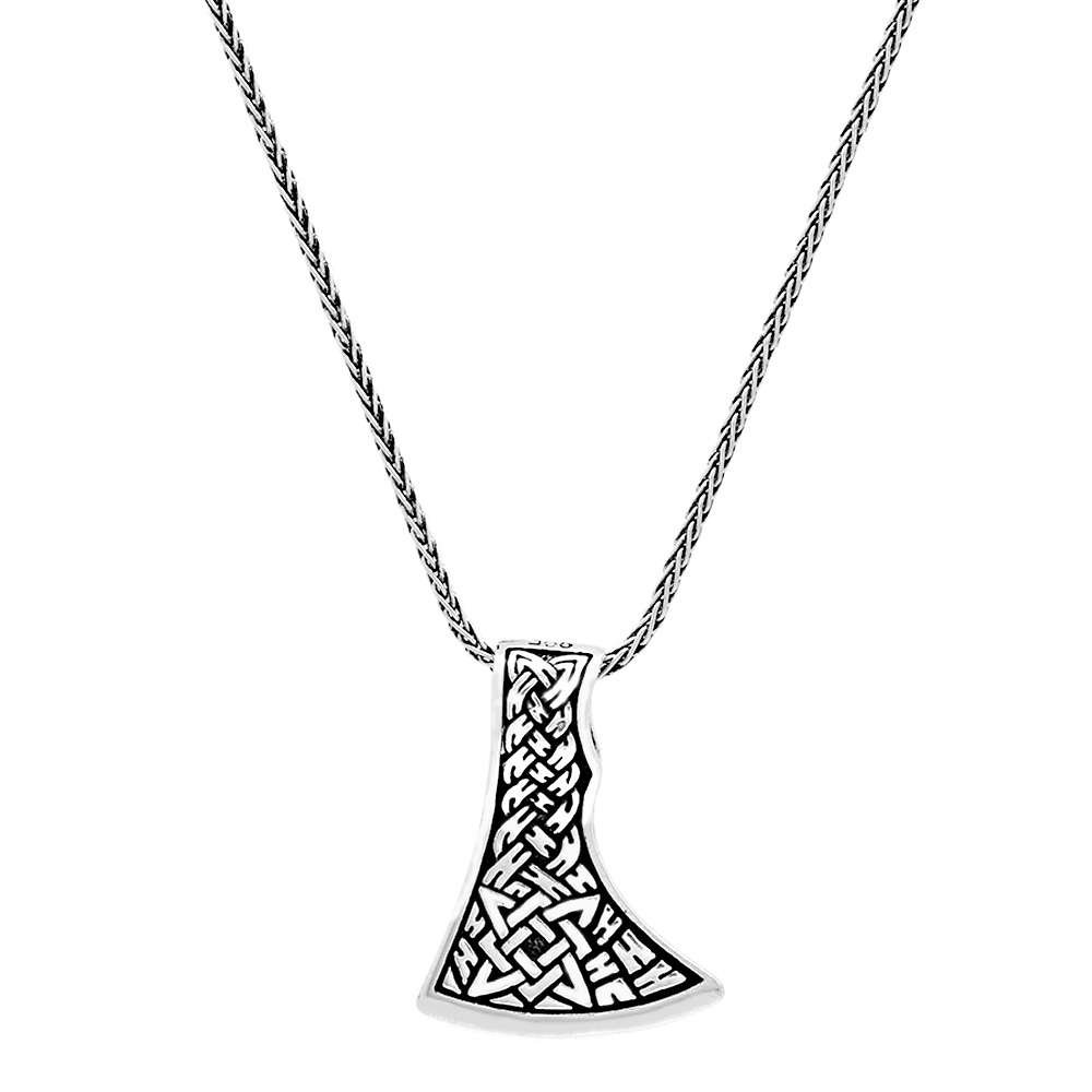 Kızılderili Baltası Tasarım Kalın Zincirli 925 Ayar Gümüş Erkek Kolye