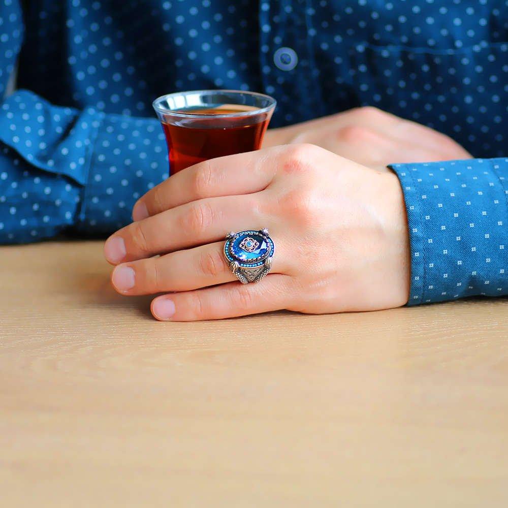 Kubbe Tasarım Faset Kesim Aqua Mavi Zirkon Taşlı 925 Ayar Gümüş Erkek Yüzük