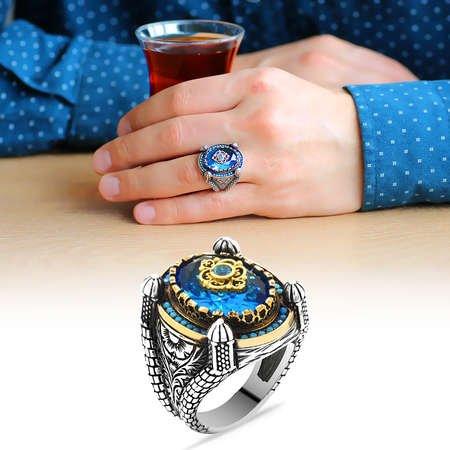 Kubbe Tasarım Faset Kesim Aqua Mavi Zirkon Taşlı 925 Ayar Gümüş Erkek Yüzük - Thumbnail