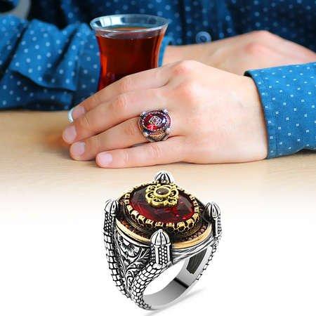 Kubbe Tasarım Faset Kesim Kırmızı Zirkon Taşlı 925 Ayar Gümüş Erkek Yüzük - Thumbnail