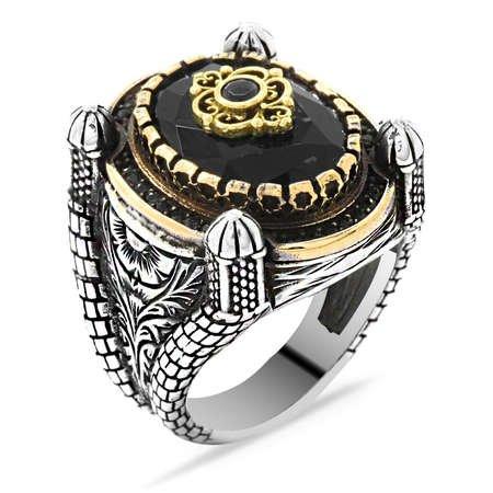 Kubbe Tasarım Faset Kesim Siyah Zirkon Taşlı 925 Ayar Gümüş Erkek Yüzük - Thumbnail