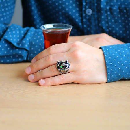 Kubbe Tasarım Faset Kesim Yeşil Zirkon Taşlı 925 Ayar Gümüş Erkek Yüzük - Thumbnail