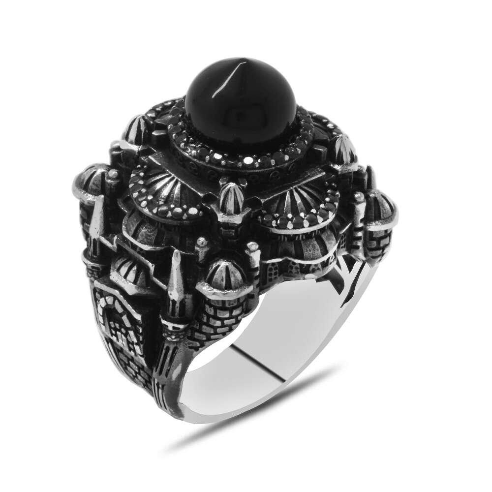 Kubbesi Siyah Oniks Taşlı Sultan Ahmet Cami Tasarımlı 925 Ayar Gümüş Erkek Yüzük