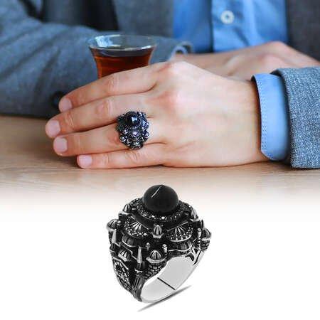 Kubbesi Siyah Oniks Taşlı Sultan Ahmet Cami Tasarımlı 925 Ayar Gümüş Erkek Yüzük - Thumbnail