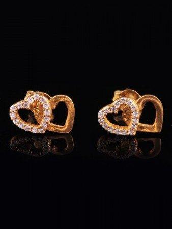 Küçük İki Kalpli Taşlı Küpe - Thumbnail