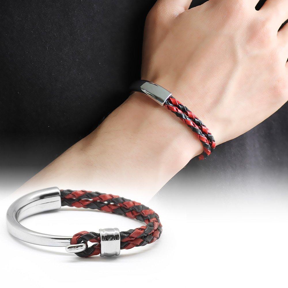 Kuğu Tasarım Çift Sıra Kırmızı-Siyah Deri-Çelik Kombinli Erkek Bileklik