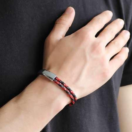 Kuğu Tasarım Çift Sıra Kırmızı-Siyah Deri-Çelik Kombinli Erkek Bileklik - Thumbnail