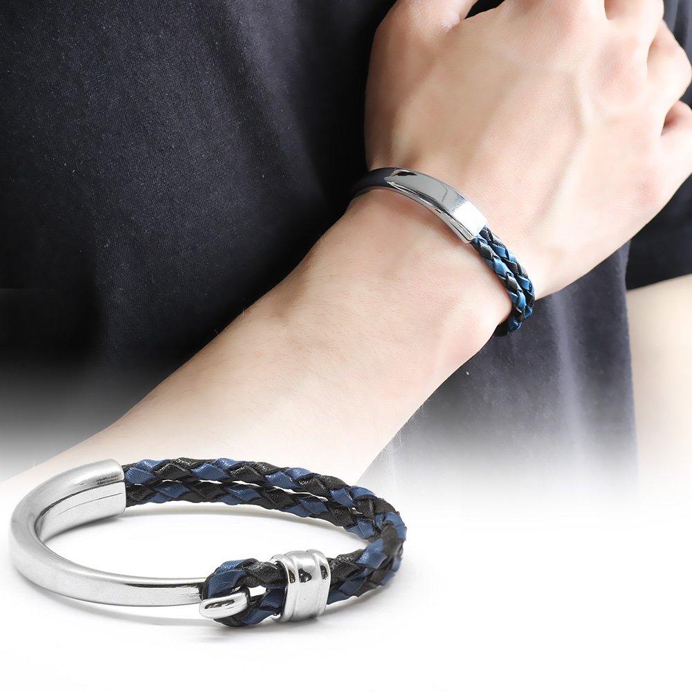 Kuğu Tasarım Çift Sıra Mavi-Siyah Deri-Çelik Kombinli Erkek Bileklik