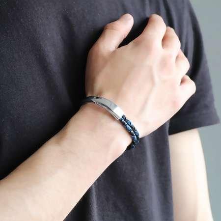 Kuğu Tasarım Çift Sıra Mavi-Siyah Deri-Çelik Kombinli Erkek Bileklik - Thumbnail
