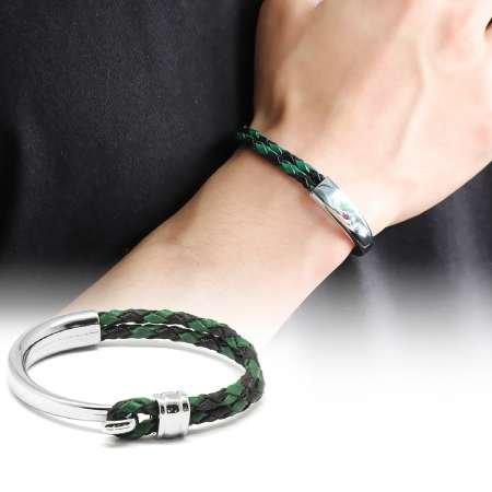 Kuğu Tasarım Çift Sıra Yeşil-Siyah Deri-Çelik Kombinli Erkek Bileklik - Thumbnail