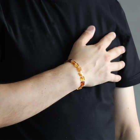 Küp Form Bal Rengi Doğal Damla Kehribar Bileklik - Thumbnail