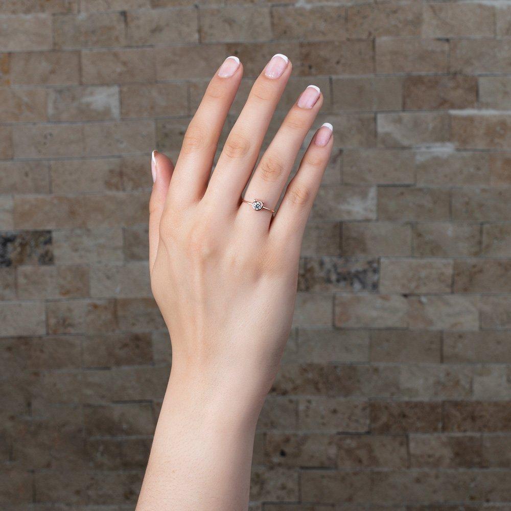 Kurdela Tasarım Roz Renk 925 Ayar Gümüş Bayan Tektaş Yüzük