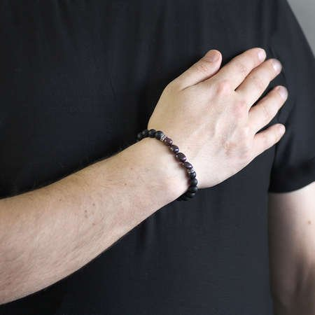 Küre Kesim Oniks-Doğal Form Granat Doğaltaş Bileklik - Thumbnail