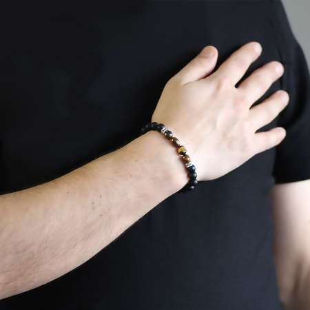 Küre Kesim Oniks-Doğal Form Kaplangözü Doğaltaş Bileklik - Thumbnail