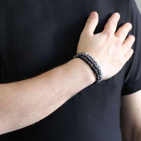 Küre Kesim Oniks-Hematit-Jasper Kombinli Doğaltaş Bileklik - Thumbnail