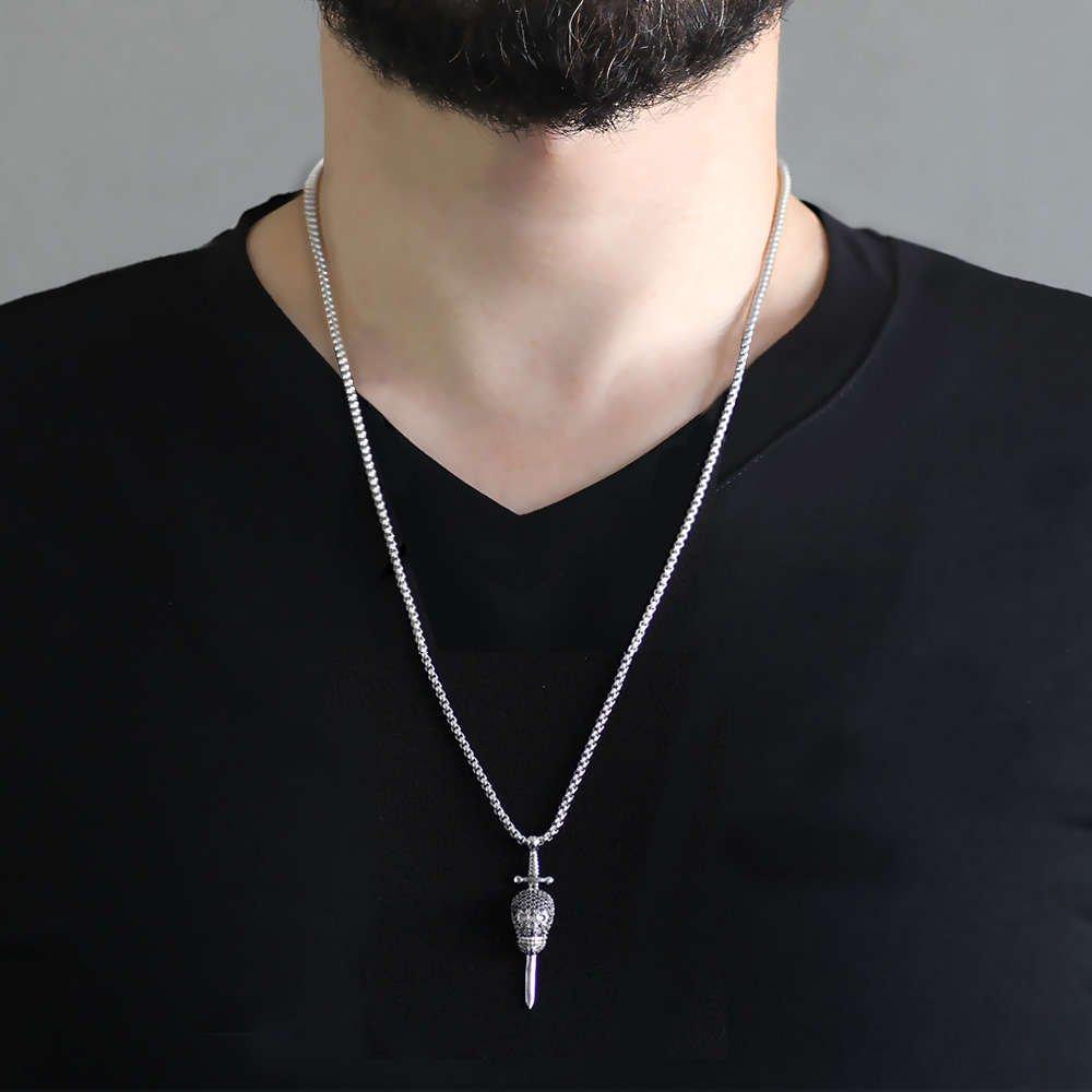 Kuru Kafa Tasarım Siyah Zirkon Taşlı Gümüş Renk Zincir Pirinç Kolye