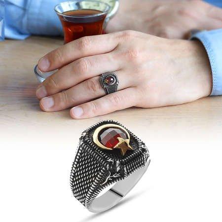 Lale Motifli Ayyıldız Tasarım Kırmızı Zirkon Taşlı 925 Ayar Gümüş Erkek Yüzük - Thumbnail