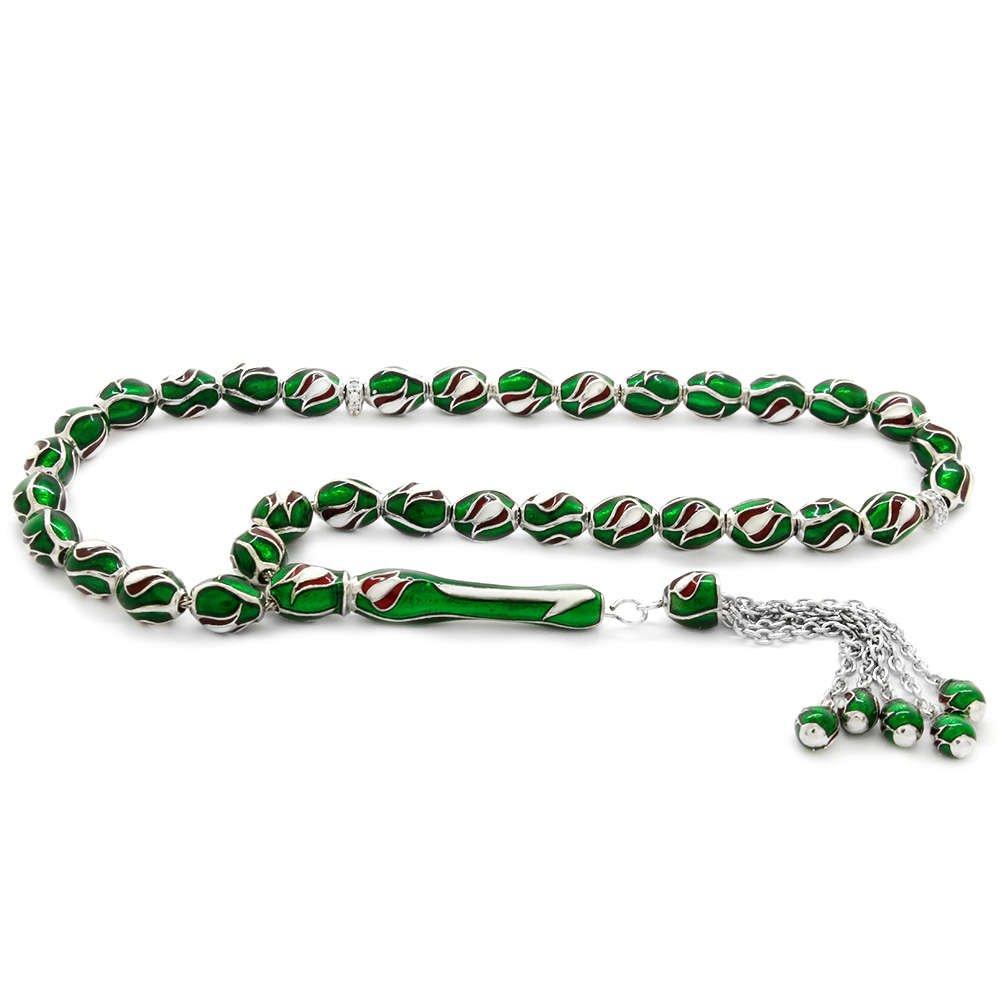 Lale Tasarım Yeşil Mineli Arpa Kesim 925 Ayar Gümüş Tesbih