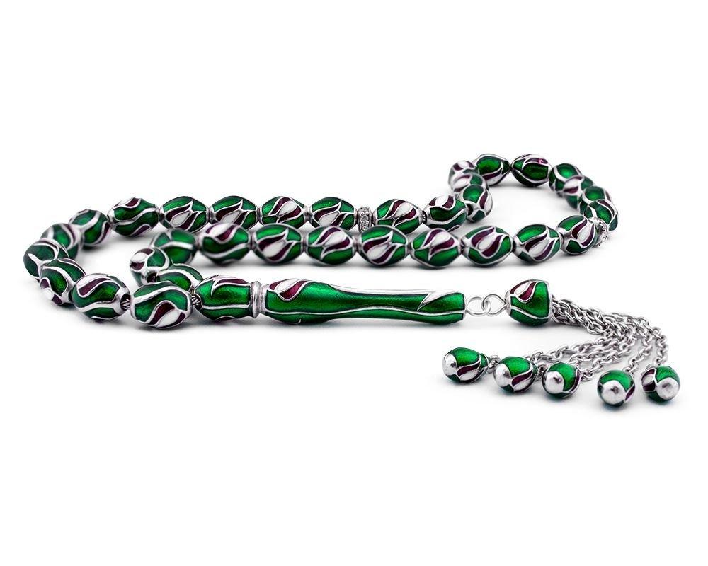 Lale Tasarım Yeşil Mineli Gümüş Tesbih