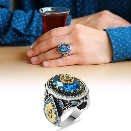 Lale Temalı Aqua Mavi Zirkon Taşlı Kişiye Özel İsim Yazılı 925 Ayar Gümüş Erkek Yüzük - Thumbnail
