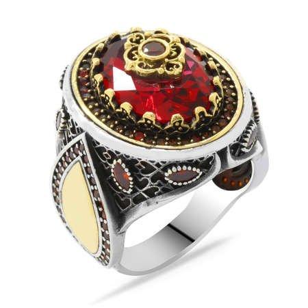 Lale Temalı Kırmızı Zirkon Taşlı Kişiye Özel İsim Yazılı 925 Ayar Gümüş Erkek Yüzük - Thumbnail