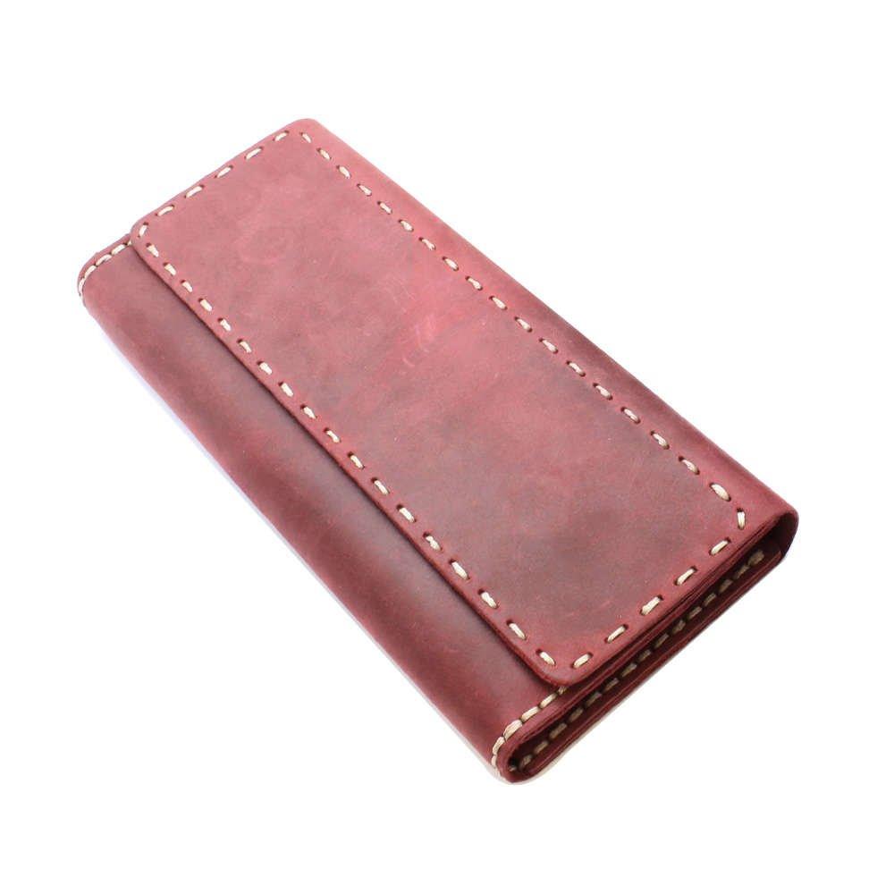 Magnet Kapaklı Bej İpten Tamamı El Dikişi Kırmızı Crazy Dana Derisi Cüzdan