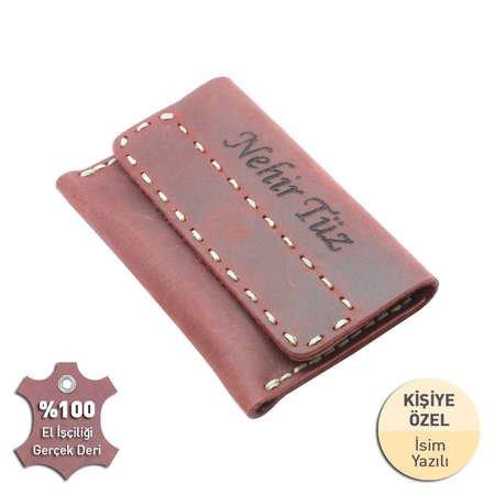 Magnet Kapaklı Bej İpten Tamamı El Dikişi Kırmızı Crazy Dana Derisi Kartlık - Thumbnail