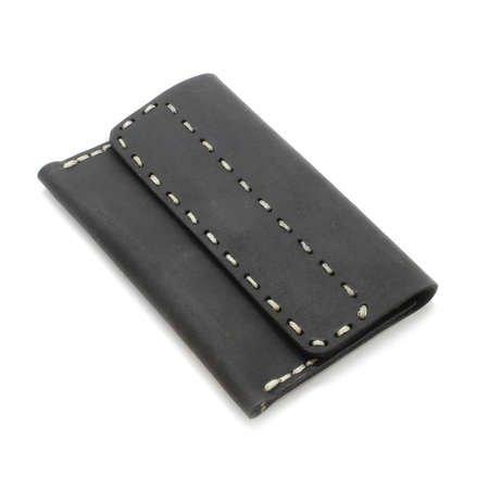 Magnet Kapaklı Bej İpten Tamamı El Dikişi Siyah Crazy Dana Derisi Kartlık - Thumbnail